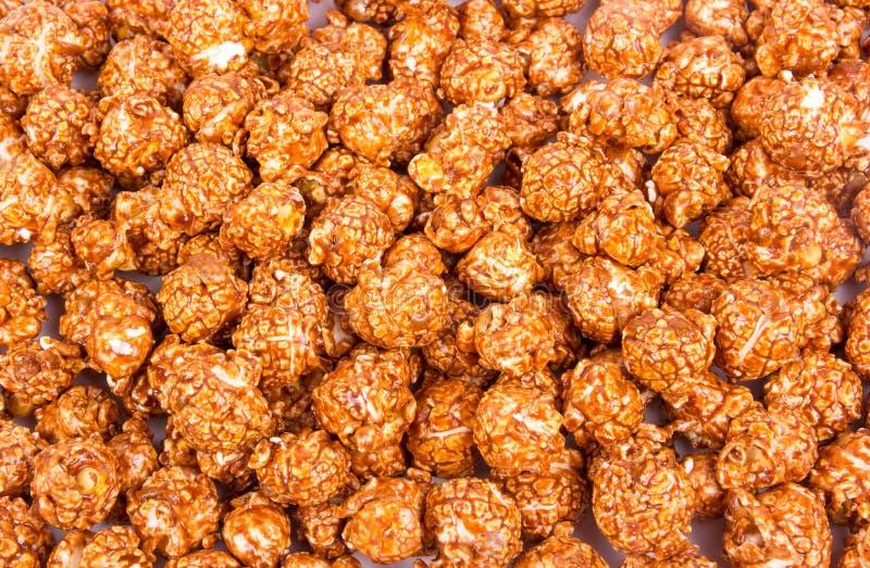 Chocolade romige popcorn Achtergronden en texturen Hoogste mening royalty-vrije stock afbeelding