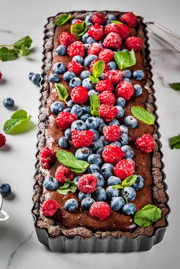 Chocolade scherp met verse bessen royalty-vrije stock fotografie