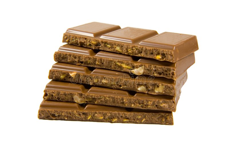 Chocolade in staven royalty-vrije stock afbeelding