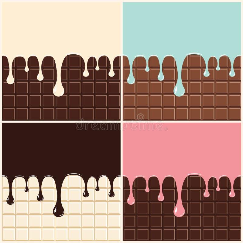 Chocolade, van de vanilleroom, roze en blauwe room Reeks van gesmolten room en chocolade die neer op chocoladereepachtergrond dru royalty-vrije illustratie