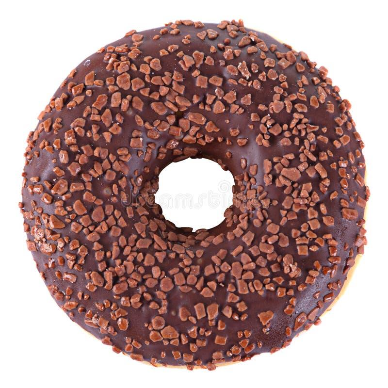 Chocolade verglaasde doughnut royalty-vrije stock afbeeldingen