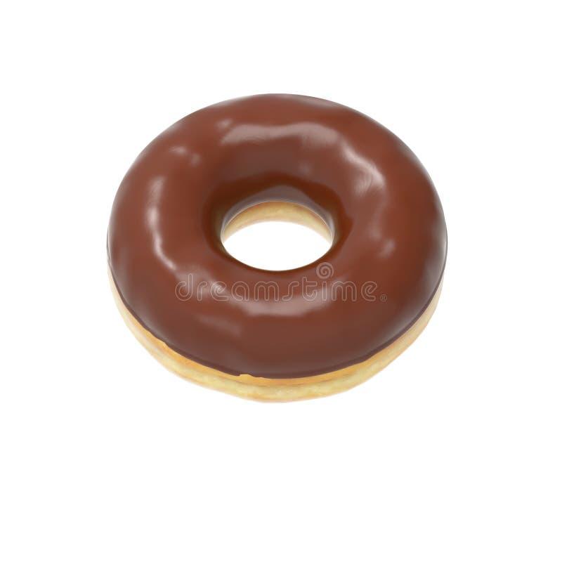 Chocolade-verglaasde doughnut royalty-vrije stock afbeeldingen