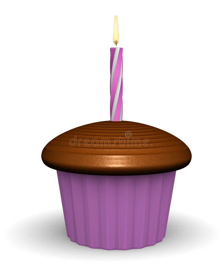 Chocolade Verjaardag Cupcake stock illustratie