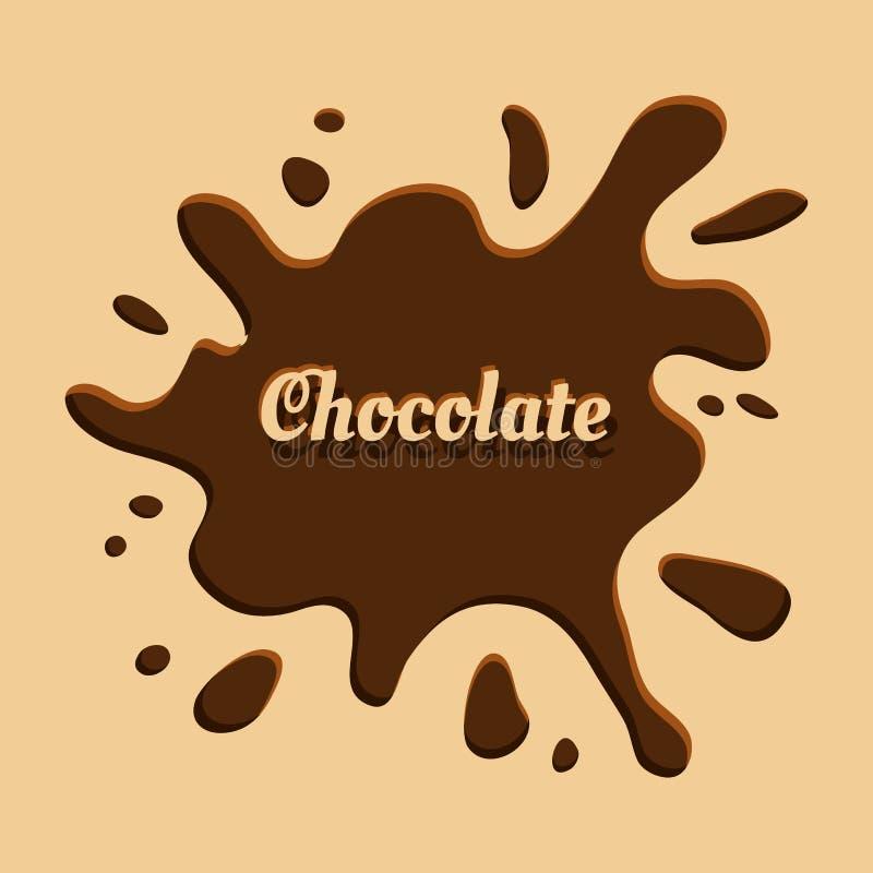 Chocoladeachtergrond met plons Vector illustratie stock illustratie