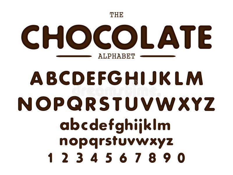 Chocoladealfabet en aantallen Vector illustratie stock illustratie
