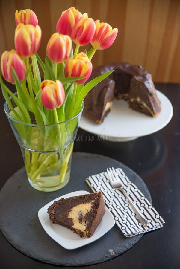 Chocoladebiscuitgebak royalty-vrije stock foto's
