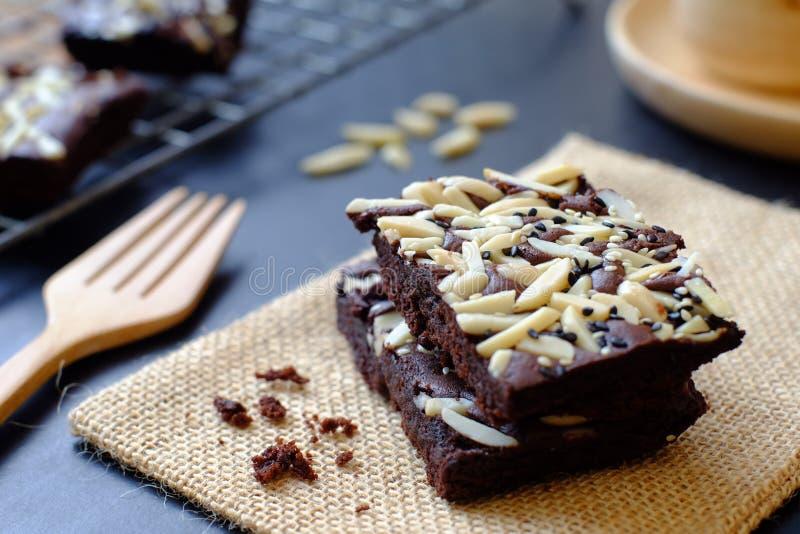 Chocoladebrownie royalty-vrije stock foto's