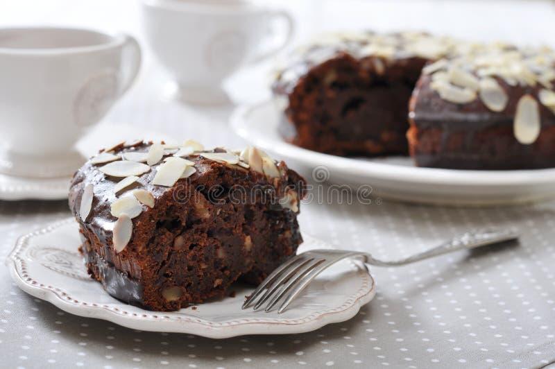 Chocoladecake met amandel stock fotografie