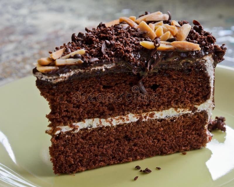 Chocoladecake met amandelen royalty-vrije stock fotografie