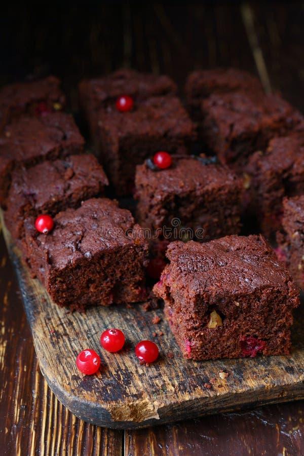 Chocoladecake met Amerikaanse veenbessen royalty-vrije stock foto