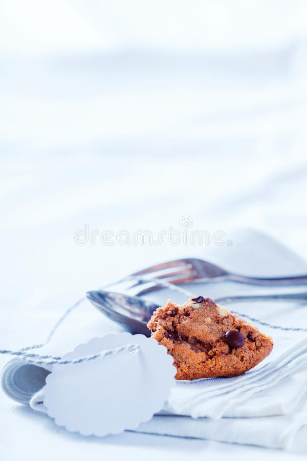 Chocoladecake met exemplaarruimte stock foto