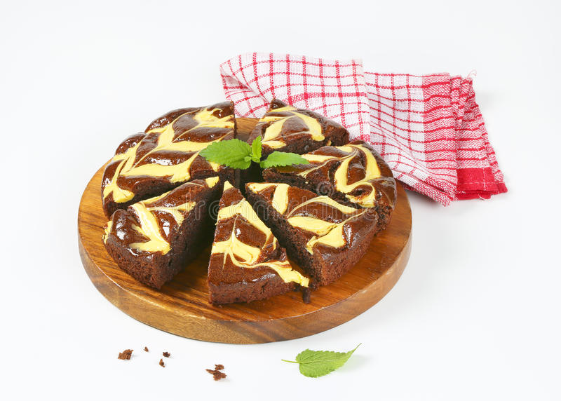 Chocoladecake met kaas stock afbeelding