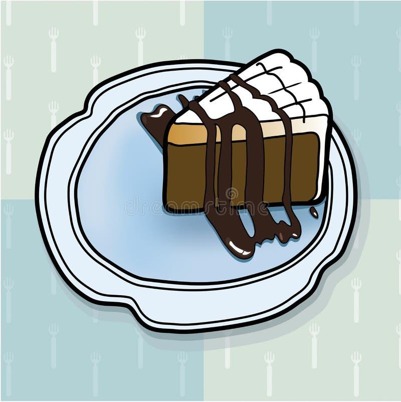 Chocoladecake op de achtergrond van de vorkpastelkleur, vector royalty-vrije stock foto