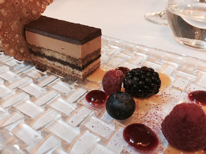 Chocoladedessert met vruchten stock afbeeldingen