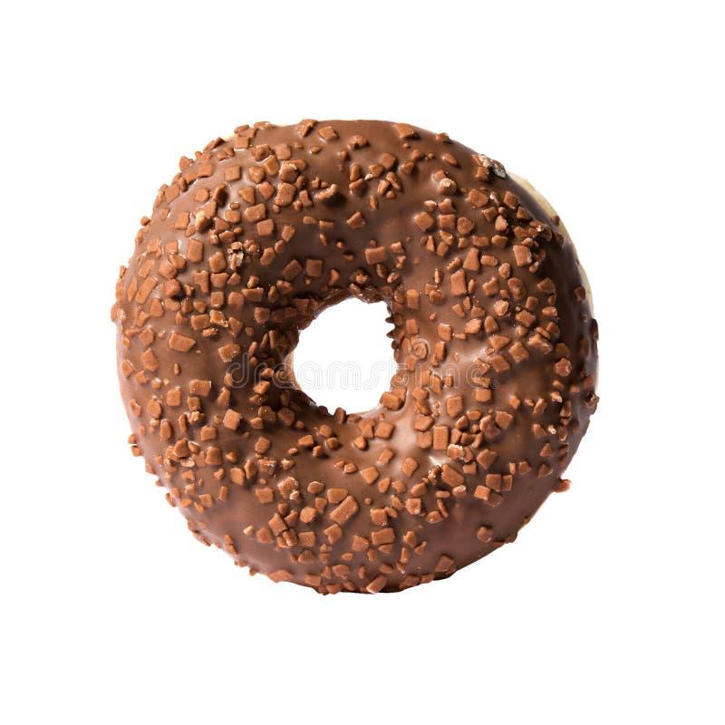 Chocoladedoughnut op witte achtergrond wordt geïsoleerd die royalty-vrije stock afbeeldingen