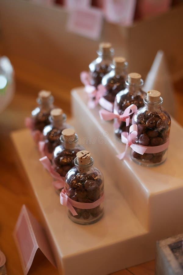 Chocoladeflessen royalty-vrije stock fotografie