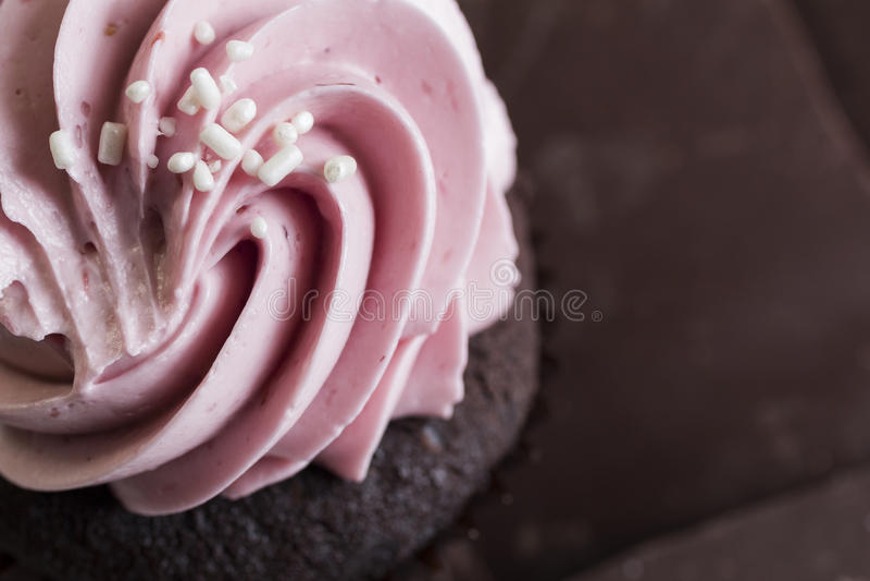 Chocoladeframboos Cupcake stock foto