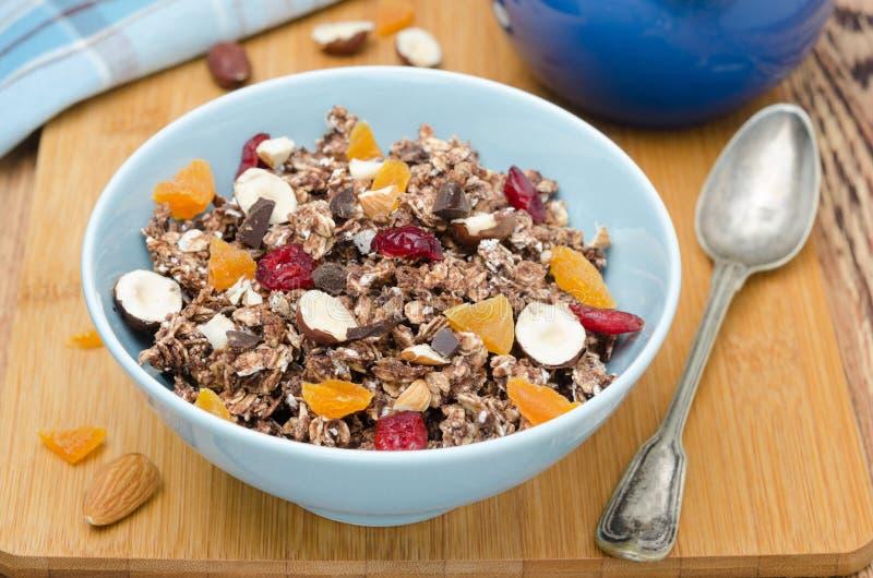 Chocoladegranola met noten en gedroogd fruit horizontale hoogste mening royalty-vrije stock foto
