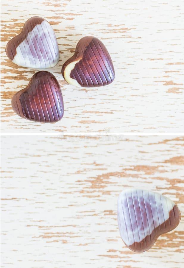 Chocoladeharten stock foto's