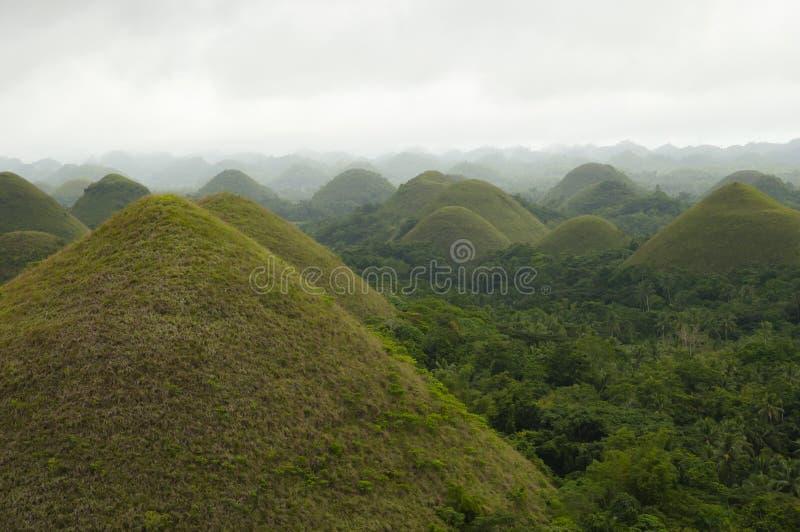 Chocoladeheuvels - Bohol - Filippijnen stock foto's