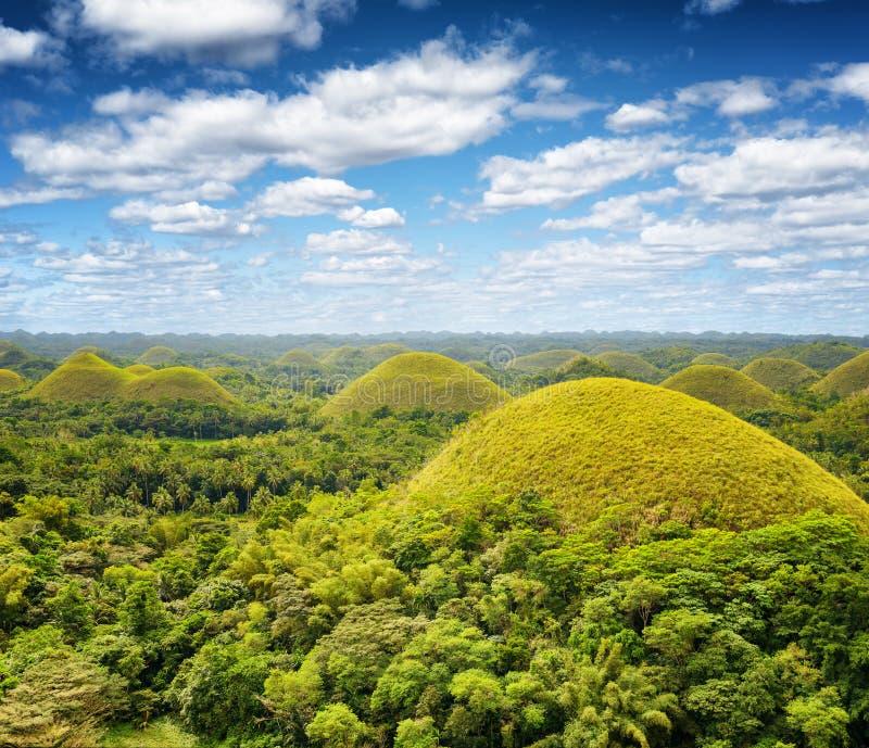 Chocoladeheuvels op Bohol-Eiland, Filippijnen stock foto's