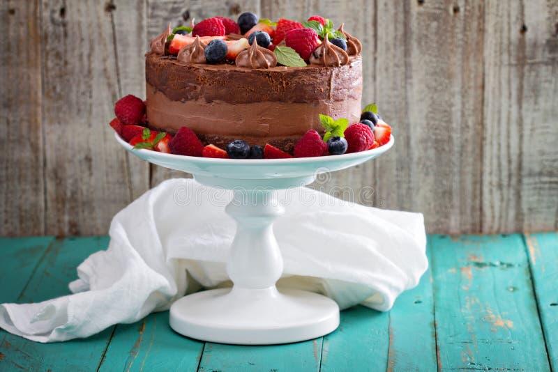 Chocoladekaastaart en de cake van het duivelsvoedsel stock afbeelding
