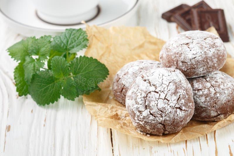 Chocoladekoekjes in gepoederde suiker Koekjes met gepoederde suiker royalty-vrije stock afbeelding
