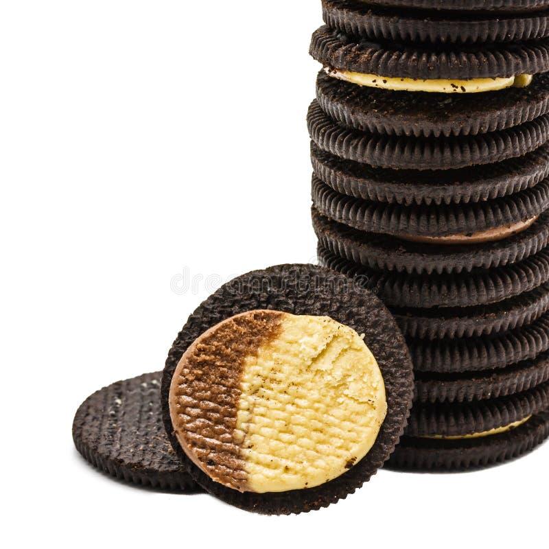 Chocoladekoekjes met room stock foto's