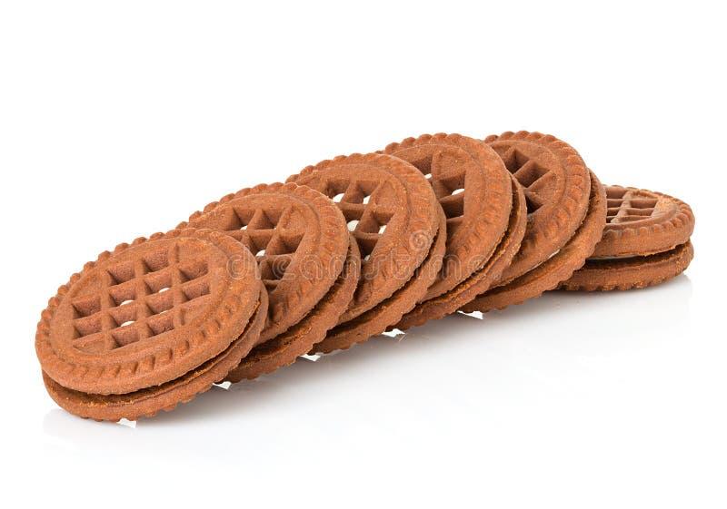 Chocoladekoekjes met room het indienen royalty-vrije stock fotografie