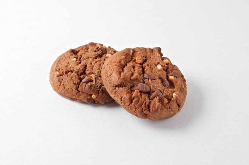 Chocoladekoekjes op wit royalty-vrije stock afbeelding