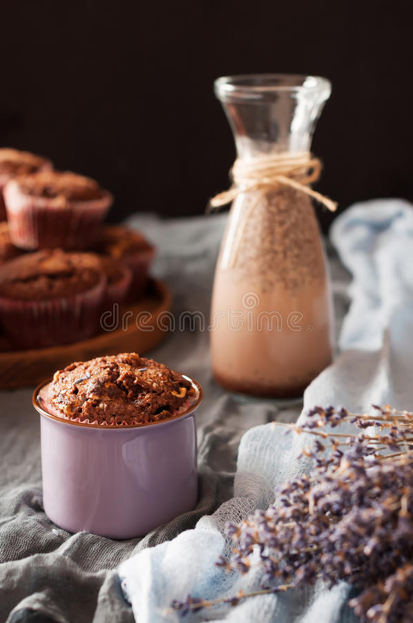 Chocolademuffins en cacaodrank royalty-vrije stock fotografie