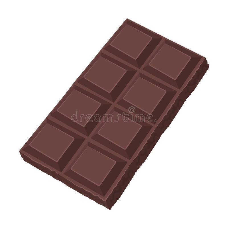 Chocoladepictogram in beeldverhaalstijl op witte achtergrond wordt geïsoleerd die Het symbool van chocoladedesserts stock illustratie