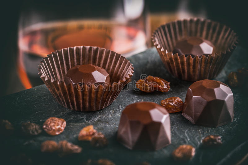 Chocoladepraline stock foto's