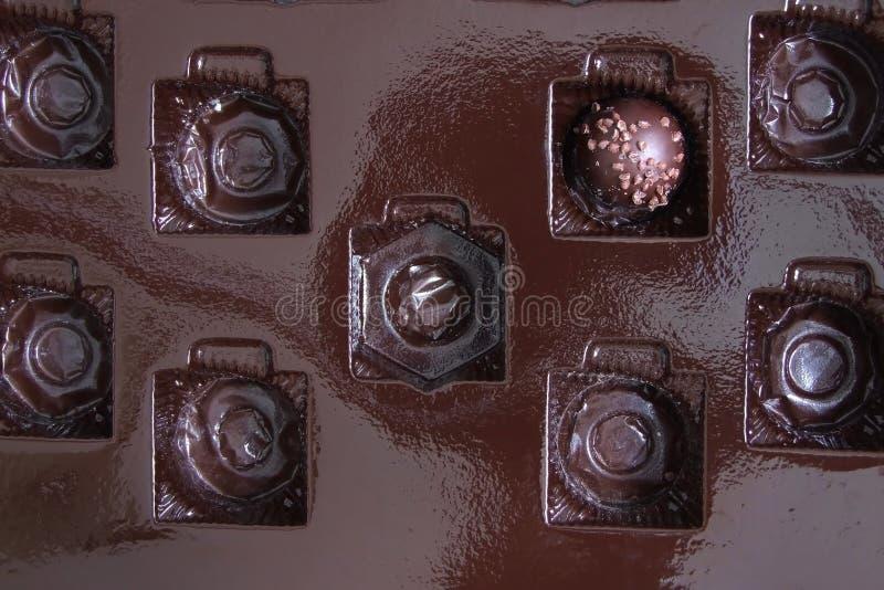 Chocoladepraline in een Doos stock afbeeldingen