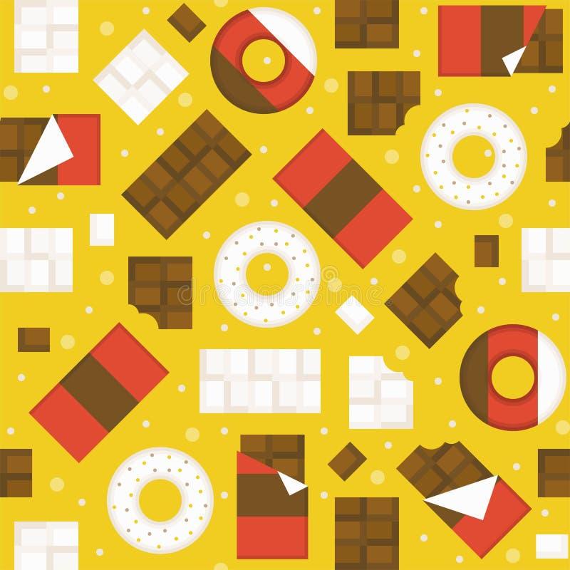 Chocoladereep en donuts naadloze patroonachtergrond royalty-vrije illustratie