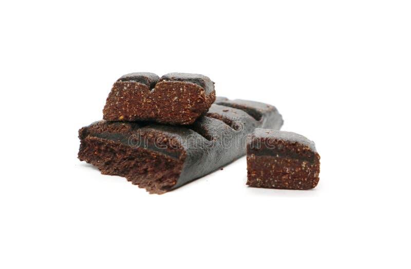 Chocoladereep Hematogen zoet die voedsel op witte achtergrond wordt geïsoleerd royalty-vrije stock afbeeldingen