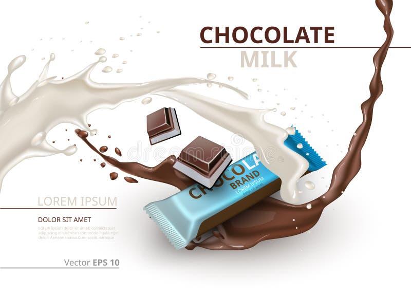 Chocoladereep met melk realistische Spot op Vectoretiketontwerp Plons en chocoladedalingenachtergrond stock illustratie