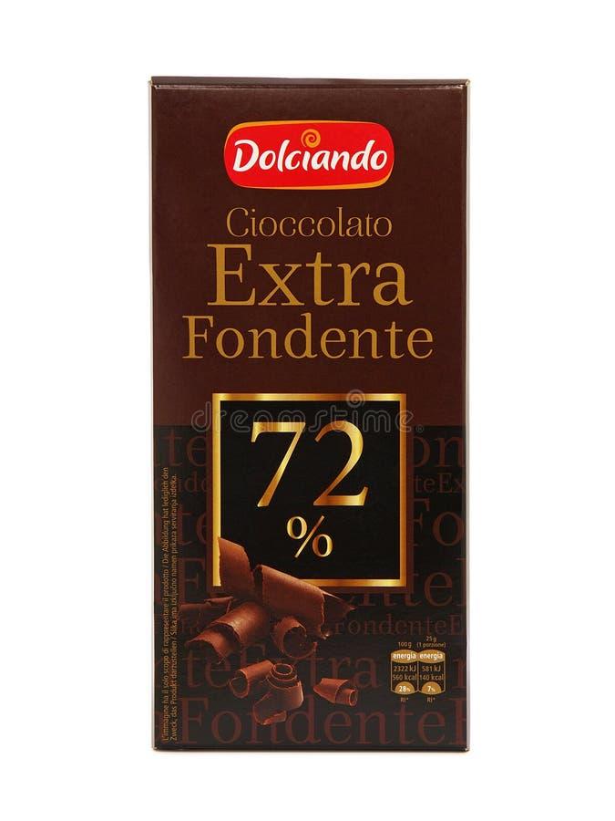 Chocoladereep van Dolciando de Extra Fondente royalty-vrije stock foto