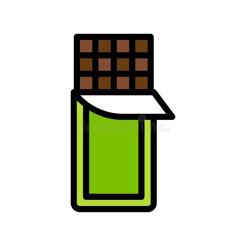 Chocoladereep vectorillustratie, het gevulde editable overzicht van het stijlpictogram royalty-vrije illustratie