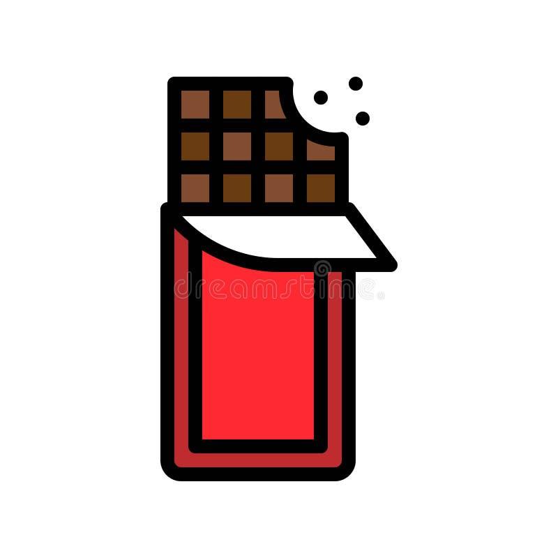 Chocoladereep vectorillustratie, het gevulde editable overzicht van het stijlpictogram vector illustratie