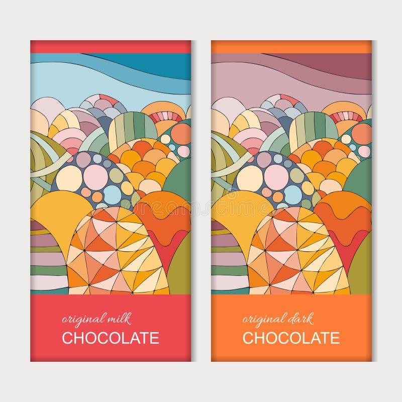 Chocoladereep verpakking Helder malplaatje met kleurrijke heuvels Snoepjes voor kinderen Vector ontwerp vector illustratie