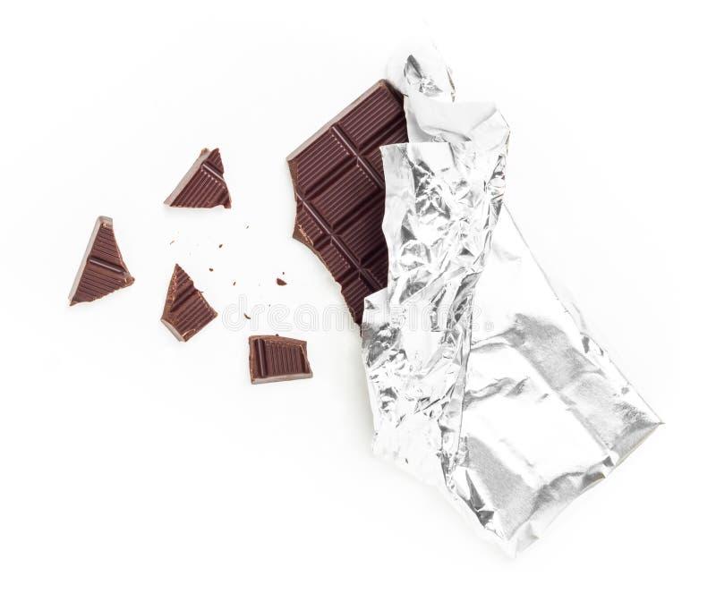 Chocoladereeptablet in Aluminiumfolie wordt verpakt die royalty-vrije stock foto's