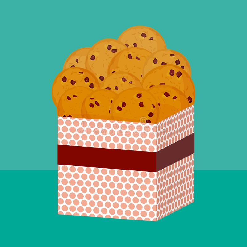 Chocoladeschilferkoekje, vers gebakken Vier koekjes Huidige roze Giftdoos met koekjes Heldere kleuren op groenachtig blauwe achte royalty-vrije illustratie