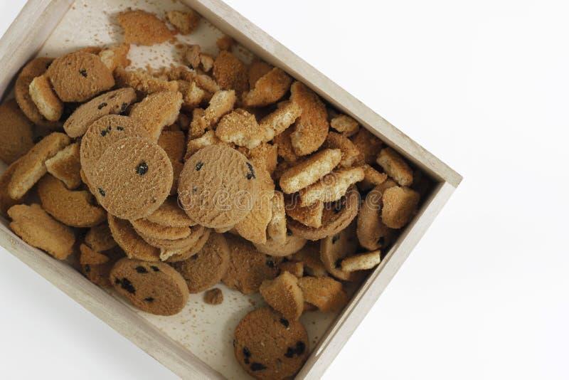 Chocoladeschilferkoekjes, koekjes van het Chocolade de eigengemaakte gebakje in a stock afbeeldingen