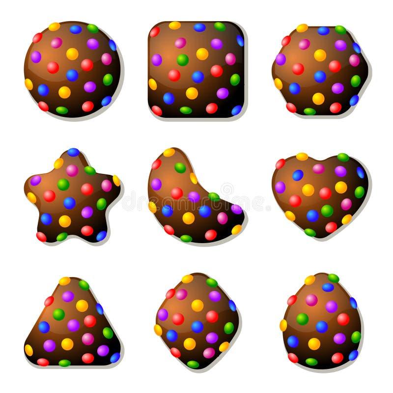 Chocoladesuikergoed voor Gelijke Drie Spel vector illustratie