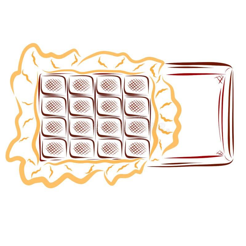 Chocolat appétissant dans l'emballage déchiré, festin doux illustration libre de droits