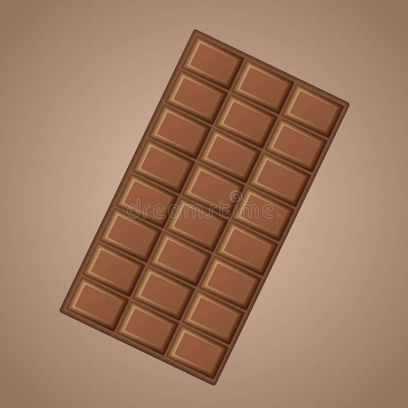 Chocolat au lait délicieux réaliste de vecteur d'isolement sur le fond brun illustration stock