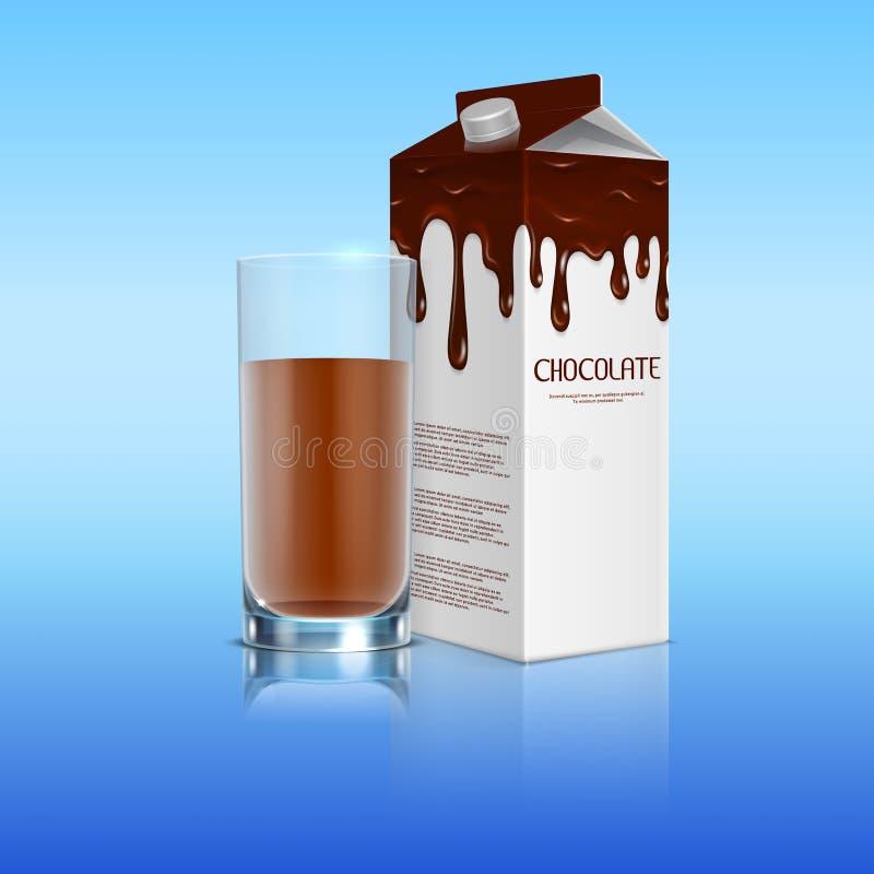 Chocolat au lait dans le paquet avec un plein verre de cacao réaliste illustration stock
