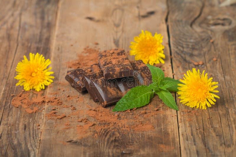 Chocolat avec les feuilles en bon état images stock