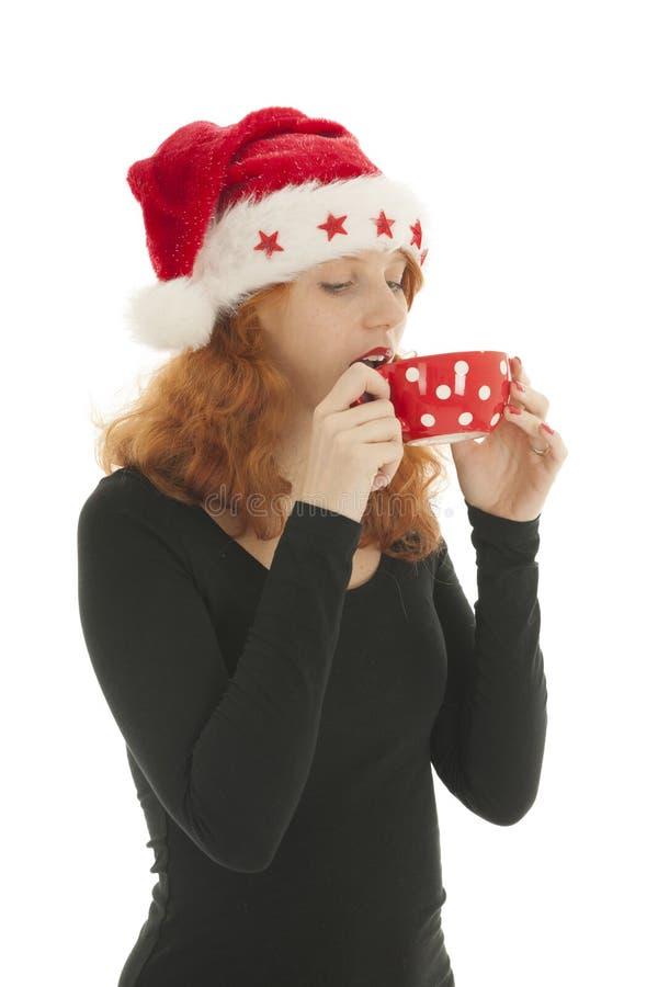 Chocolat bevente della donna di Natale immagini stock